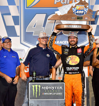 J.R. Bishop and Martin Truex, Jr. in the Winner's Circle at the 2019 Federated Auto Parts 400 NASCAR race